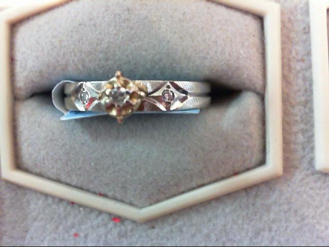Lady's Diamond Engagement Ring 3 Diamonds .05 Carat T.W. 14K White Gold 2.2g