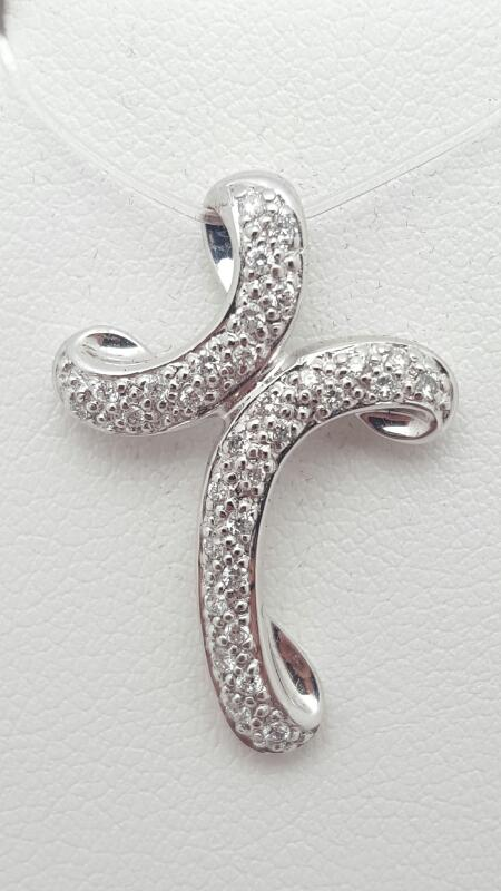 14kw Gold Diamond Pave Cross Pendant 20 Round Diamonds .20 Carat T.W. 2.1g