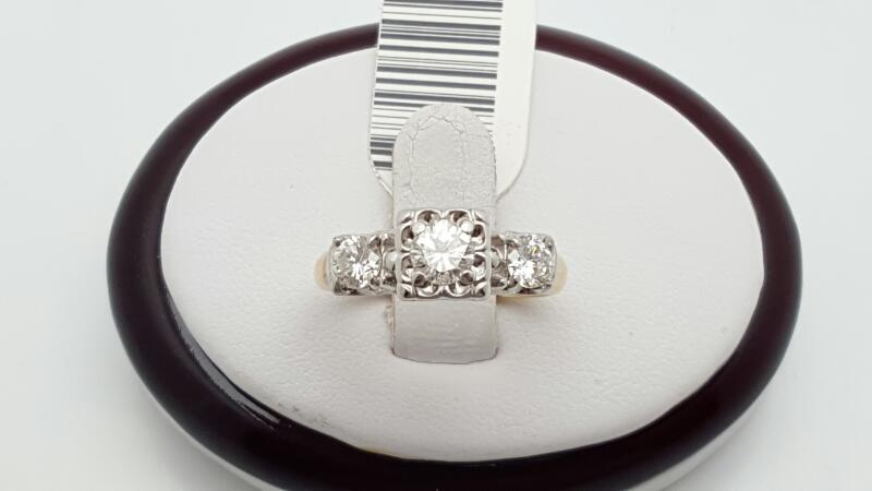 Lady's Diamond Engagement Ring 3 Diamonds .82 Carat T.W. 14K 2 Tone Gold 3.7g