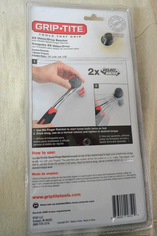 GRIP-TITE Sockets/Ratchet 00350 2X VELOCI-DRIVE RATCHET