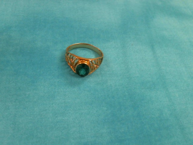 Green Stone Gent's Stone Ring 14K Yellow Gold 4dwt