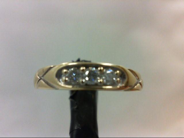 Lady's Diamond Wedding Band 3 Diamonds 0.18 Carat T.W. 10K Yellow Gold 1.7g Size