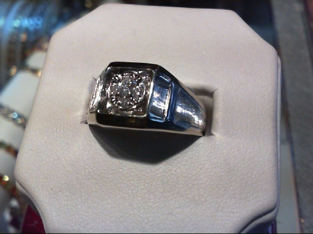 Gent's Diamond Cluster Ring 5 Diamonds 0.18 Carat T.W. 14K White Gold 4.7g