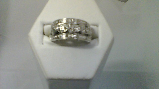 Lady's Silver-Diamond Ring 22 Diamonds .22 Carat T.W. 925 Silver 5.2g