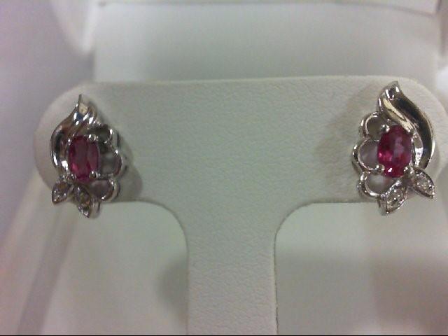Synthetic Pink Stone Gold-Diamond & Stone Earrings 4 Diamonds 0.04 Carat T.W. 10