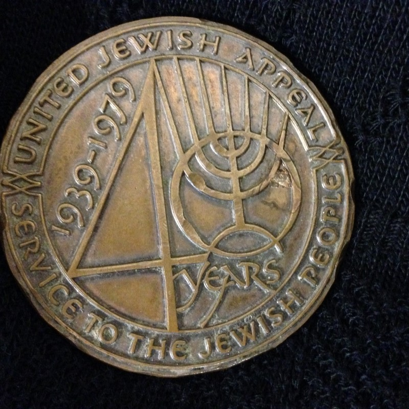 UNITED JEWISH APPEAL MEDAL 40 YEARS SERVICE TO THE JEWISH PEOPLE.  1939-1979