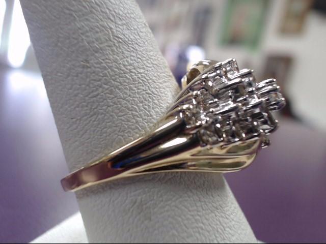 Lady's Diamond Cluster Ring 29 Diamonds .87 Carat T.W. 10K 2 Tone Gold 7.11g