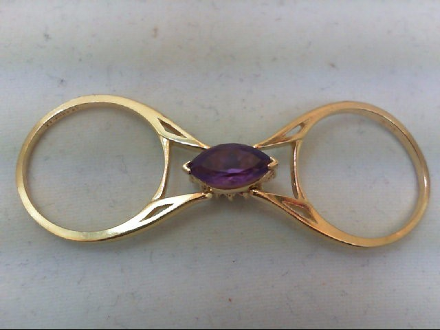 Amethyst Lady's Stone & Diamond Ring 12 Diamonds .24 Carat T.W. 14K Yellow Gold