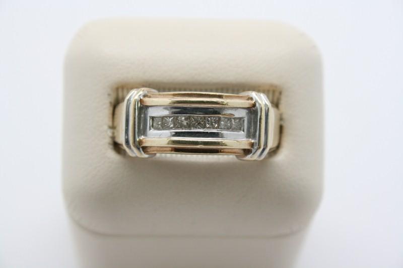 GENTS 2 TONE 10K GOLD PRINCESS CUT DIAMOND RING