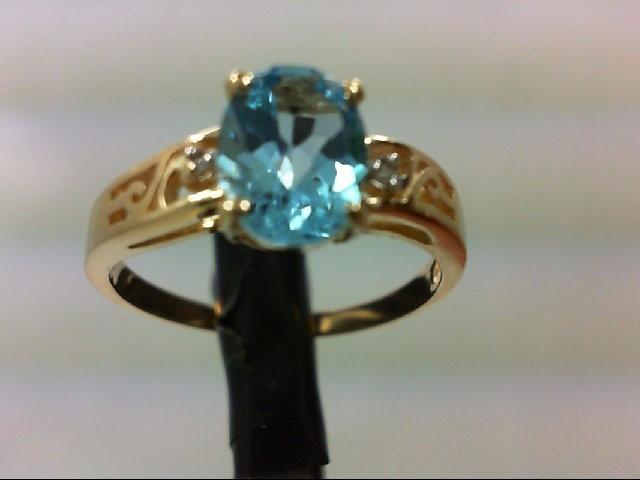 Synthetic Blue Topaz Lady's Stone & Diamond Ring 2 Diamonds 0.02 Carat T.W. 10K