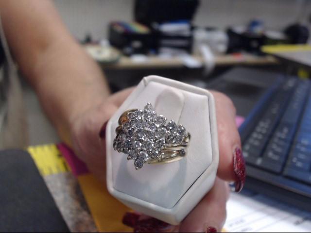 Lady's Diamond Cluster Ring 30 Diamonds 1.50 Carat T.W. 10K Yellow Gold 4.65dwt