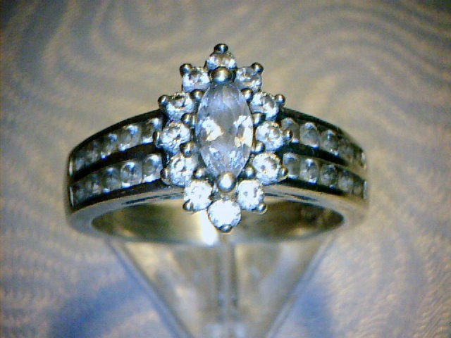 Synthetic Cubic Zirconia Lady's Silver & Stone Ring 925 Silver 4.7dwt Size:7.8