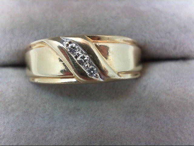 Gent's Gold-Diamond Wedding Band 3 Diamonds .06 Carat T.W. 14K Yellow Gold 3.4g