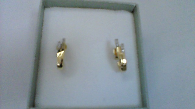 Gold-Diamond Earrings 12 Diamonds .12 Carat T.W. 10K Yellow Gold 2.2g