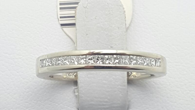 Lady's Gold-Diamond Anniversary Ring 17 Diamonds .34 Carat T.W. 14K White Gold
