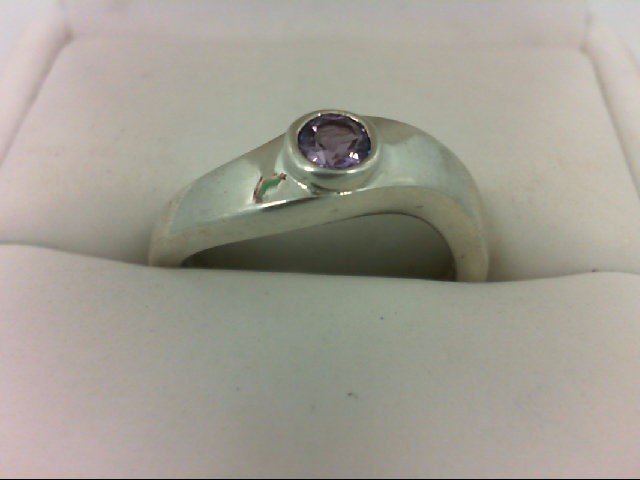 Amethyst Lady's Silver & Stone Ring 925 Silver 4.1g Size:7