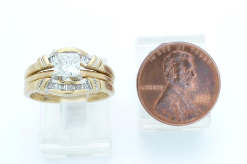 PRINCESS NATURAL DIAMOND 0.70 TCW WEDDING SET 14K GOLD 6.3g SIZE 6