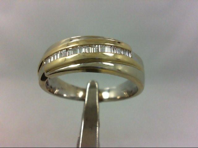 Gent's Gold-Diamond Wedding Band 16 Diamonds .16 Carat T.W. 14K 2 Tone Gold