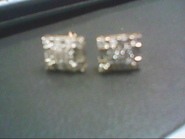 Gold-Diamond Earrings 34 Diamonds 1.22 Carat T.W. 14K Yellow Gold 4.4g