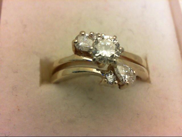 Lady's Diamond Wedding Set 5 Diamonds 1.01 Carat T.W. 14K Yellow Gold 3.9g
