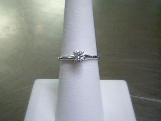 Lady's Diamond Solitaire Ring .33 CT. 18K White Gold 1.74g