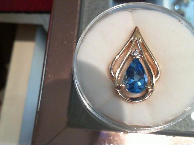 Blue Topaz Gold-Diamond & Stone Pendant .01 CT. 14K Yellow Gold 2.8g