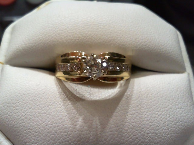 Lady's Diamond Engagement Ring 9 Diamonds .90 Carat T.W. 14K Yellow Gold 6.3g