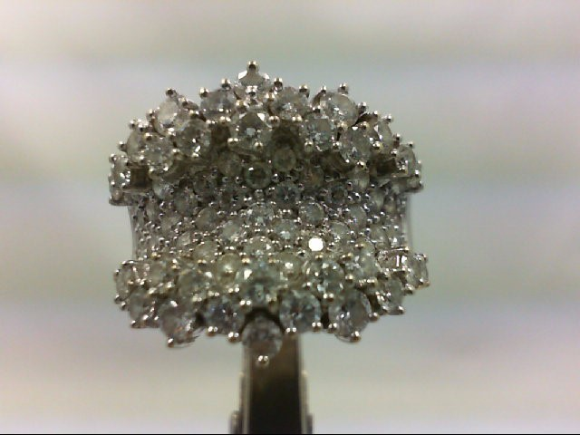 Lady's Diamond Cluster Ring 68 Diamonds 3.00 Carat T.W. 18K White Gold 10.99g