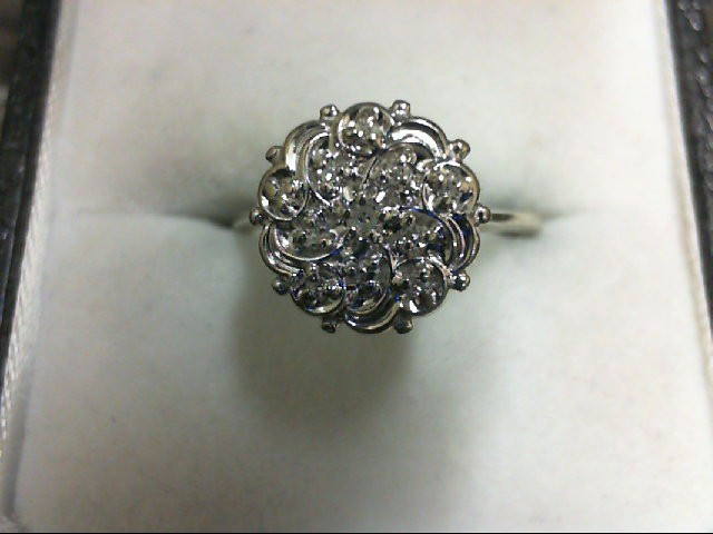 Gent's Diamond Cluster Ring 11 Diamonds 0.11 Carat T.W. 14K White Gold 2.5g