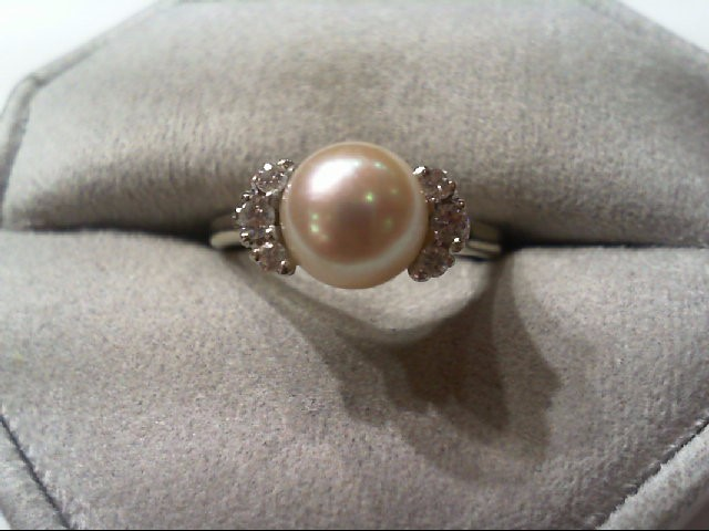 Pearl Lady's Stone & Diamond Ring 6 Diamonds .22 Carat T.W. 14K White Gold 3.8g