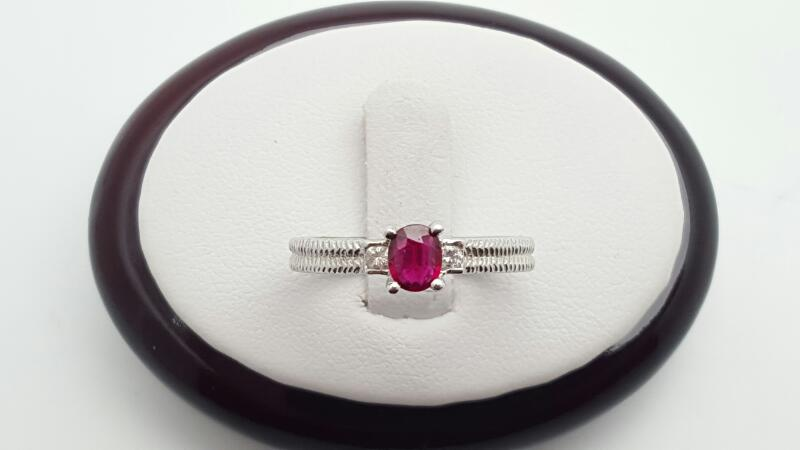 Lady's ruby & Diamond Ring 2 Diamonds .07 Carat T.W. 14K White Gold 3.1g
