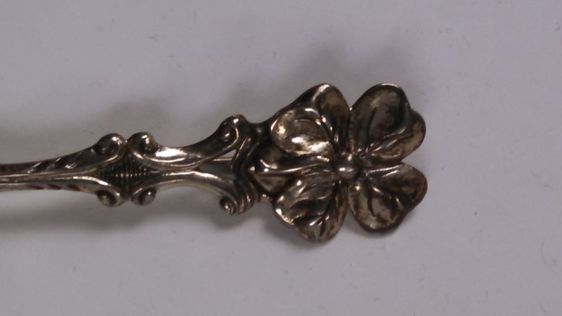 Vintage Beau Sterling Silver Four Leaf Clover Spoon Pin, .925 Silver 4.5g