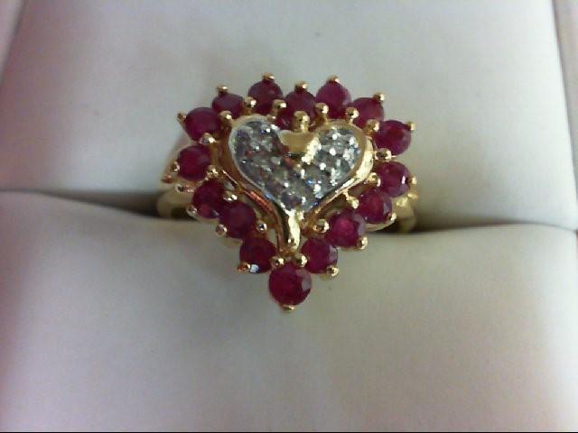Ruby Lady's Stone & Diamond Ring 5 Diamonds 0.05 Carat T.W. 10K Yellow Gold 3.3g