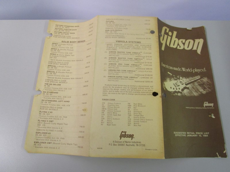 1984 GIBSON GUITAR SUGGESTED RETAIL PRICE LIST BROCHURE, EFFECTIVE JANUARY 15, 1