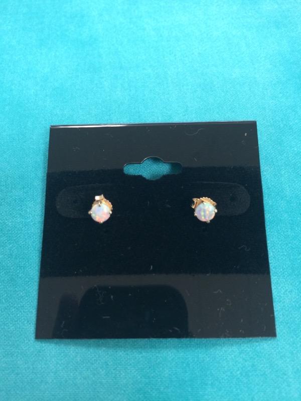 Synthetic Opal Gold-Stone Earrings 14K Yellow Gold 0.2dwt
