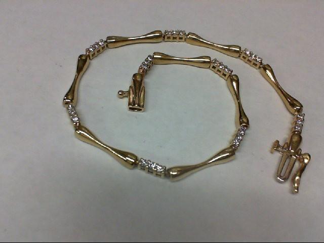 Gold-Diamond Bracelet 27 Diamonds 0.54 Carat T.W. 14K Yellow Gold 5.5g