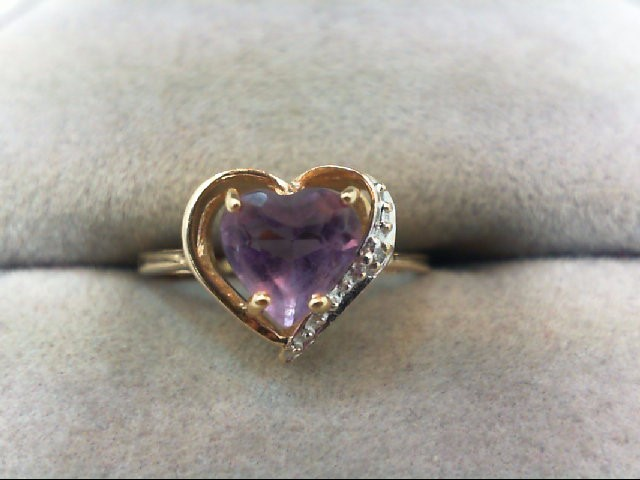 Amethyst Lady's Stone Ring 14K Yellow Gold 1.4g