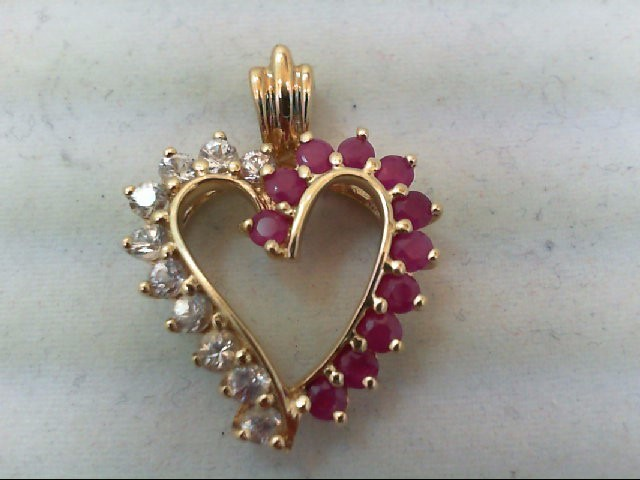 Ruby Gold-Stone Pendant 10K Yellow Gold 3.9g