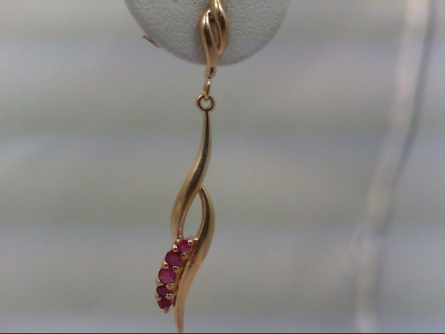 Ruby Gold-Stone Earrings 14K Yellow Gold 2.63g