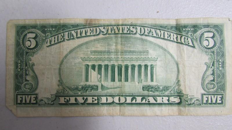 UNITED STATES 5 DOLLAR BILL 1950 A