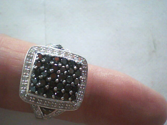 Lady's Silver-Diamond Ring 60 Diamonds .70 Carat T.W. 925 Silver 3.5dwt