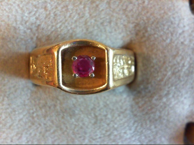 Ruby Gent's Stone Ring 14K Yellow Gold 8.7g