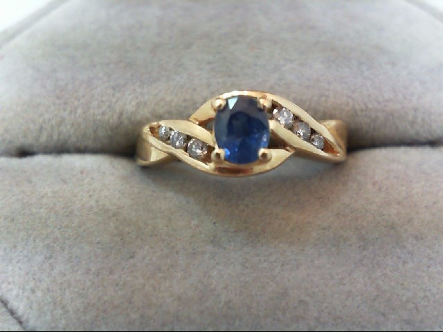 Sapphire Lady's Stone & Diamond Ring 6 Diamonds .16 Carat T.W. 14K Yellow Gold