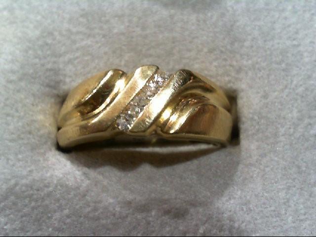Gent's Gold-Diamond Wedding Band 4 Diamonds .16 Carat T.W. 14K Yellow Gold 6g