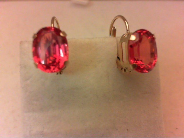 Synthetic Orange Stone Gold-Stone Earrings 10K Yellow Gold 1.9g