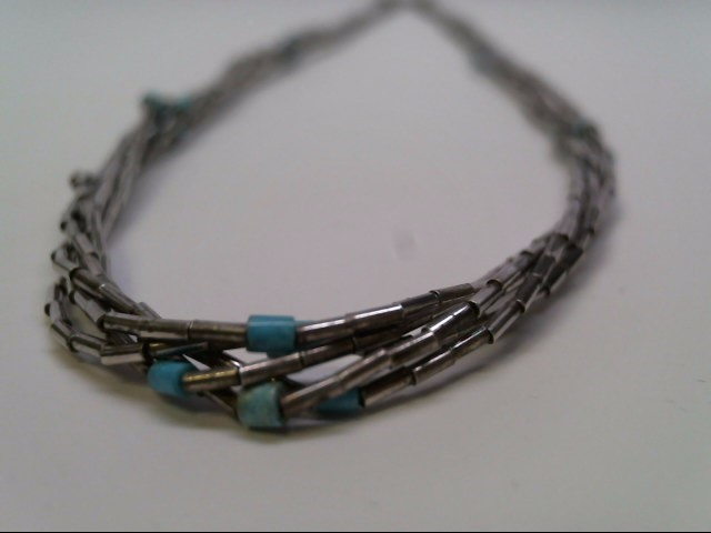 LIQUID SILVER AND TURQ BEAD NECKLACE