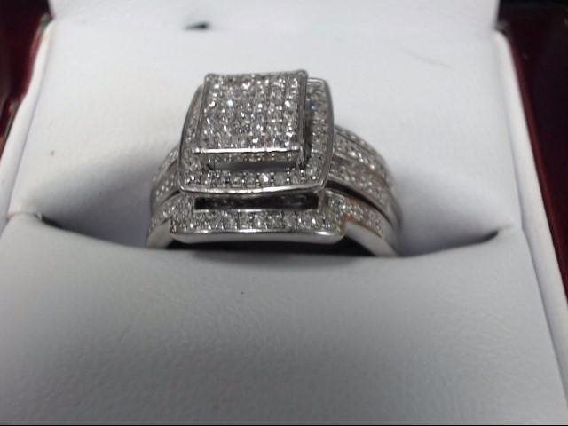 Lady's Diamond Wedding Set .01 CT. 10K White Gold 3.36dwt