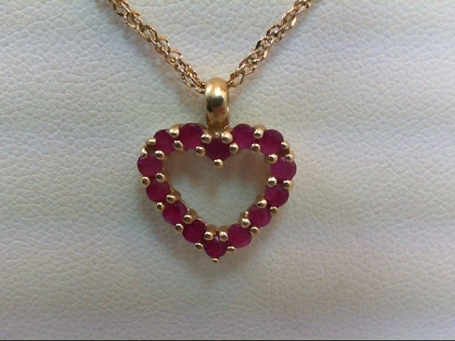 Ruby Gold-Stone Pendant 14K Yellow Gold 2.5g