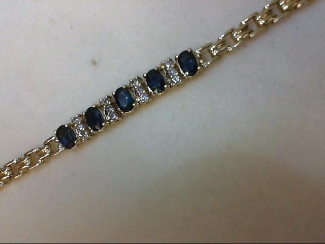 Sapphire Gold-Diamond & Stone Bracelet 12 Diamonds 0.36 Carat T.W. 14K Yellow Go
