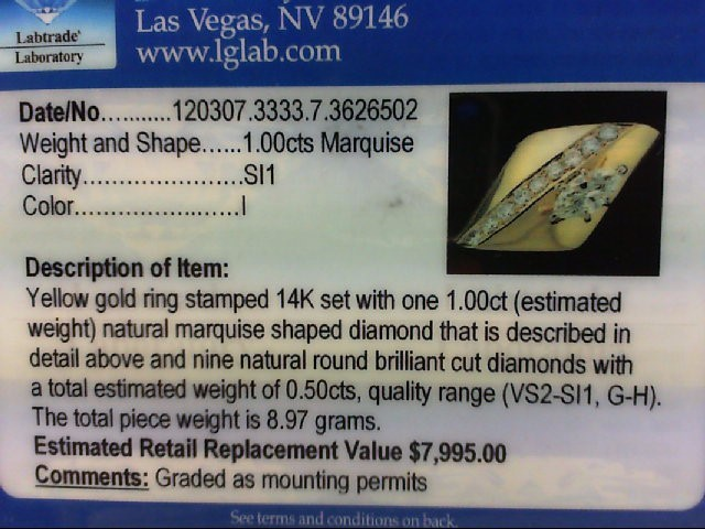 Lady's Diamond Fashion Ring 10 Diamonds 1.50 Carat T.W. 14K Yellow Gold 8.97g